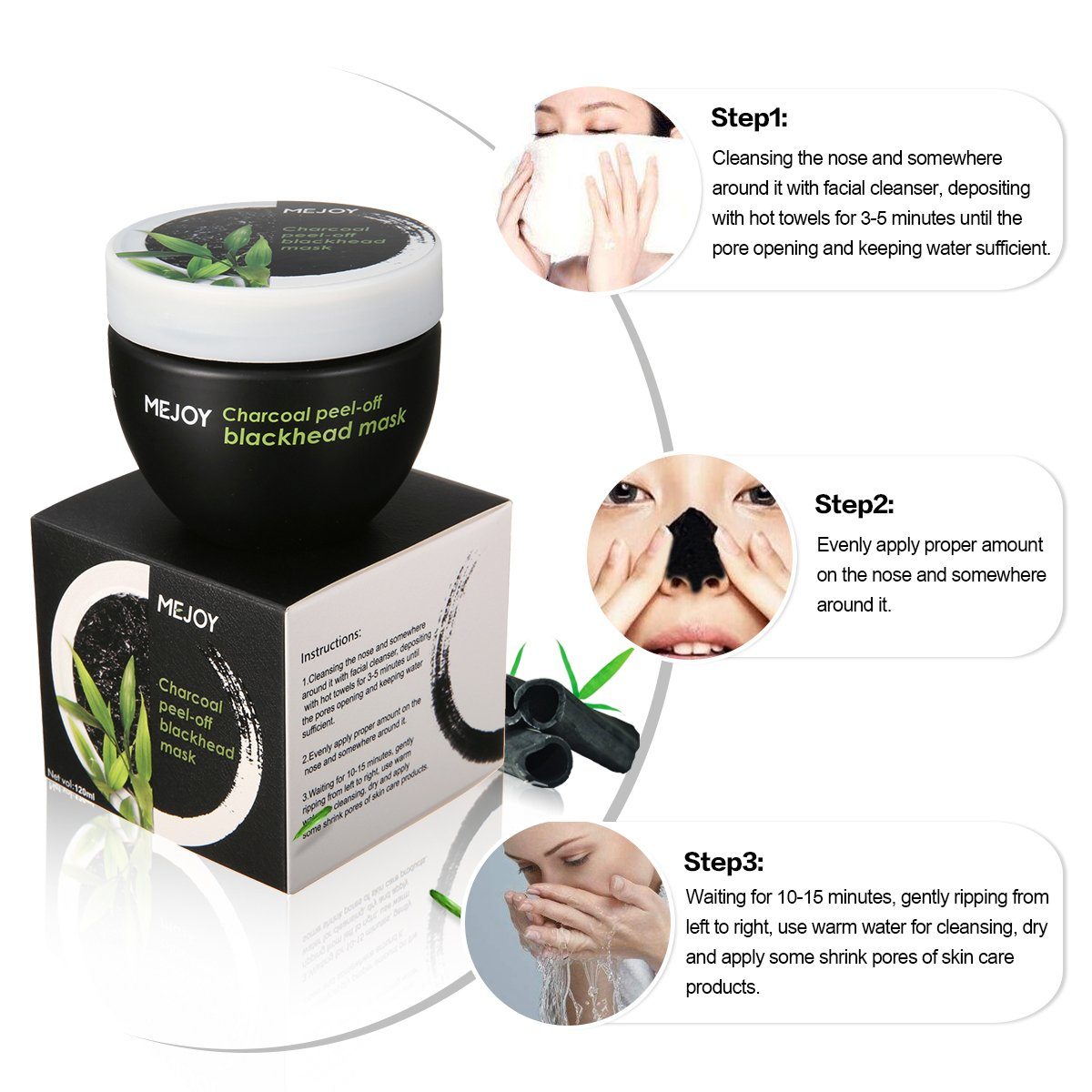 MEJOY Peel Off Black Mask, Activated Charcoal Blackhead Removal Mud Mask,  Deeply... - Viralix