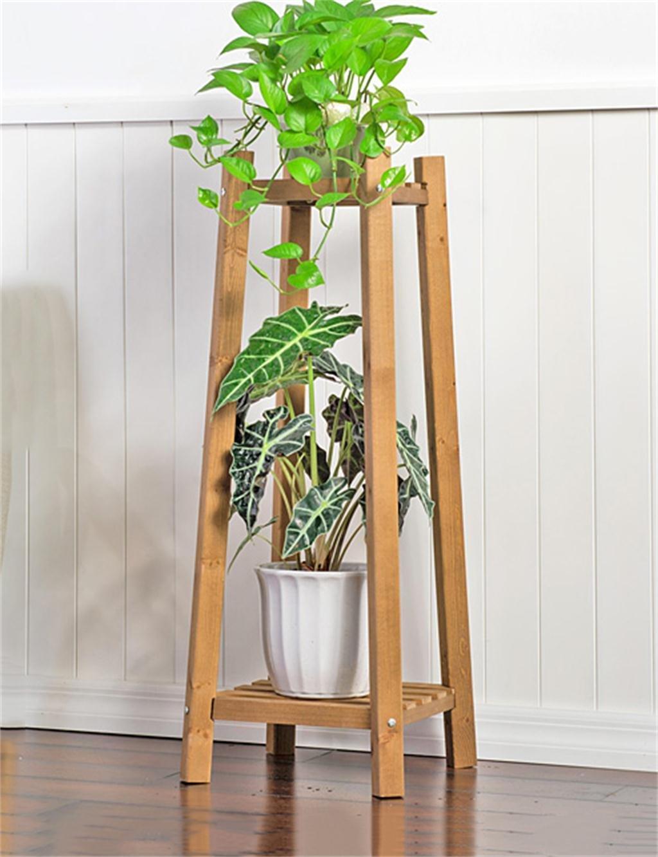 Massivholz 2-tier Boden Blumentopf Regal, Pflanzen stehen, Blumenregal für Wohnzimmer, Balkon, Interieur ( farbe : A , größe : L )