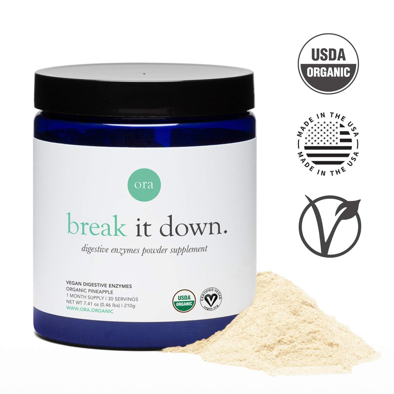 Ora Organic Digestive Enzyme Supplement - Enzymes for Digestion, 15 Digestive Enzymes with Probiotics & Prebiotics for Gut Health, Bloating Relief - Pineapple Flavor, Vegan & Gluten Free ... by Ora Organic