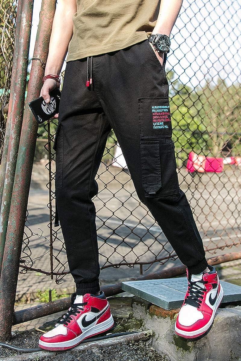 XIAOADAI Men Cargo Pants Long Multi-Pocket Mid Waist Casual Pocket Street Casual Pants Gray Black