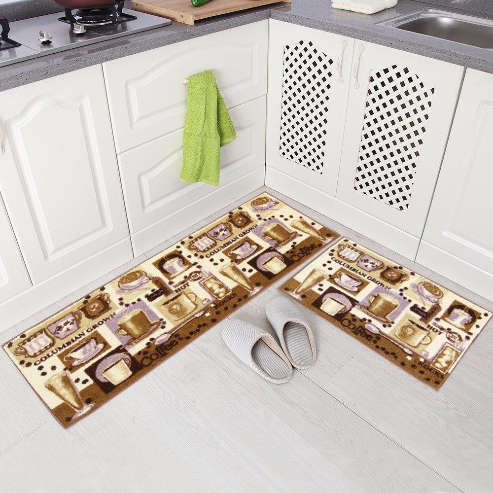 "Carvapet 2 Piece Microfiber Non-Slip Kitchen Mat Rubber Backing Doormat Runner Rug Set, Coffee Design (Brown 15""x47""+15""x23"")"