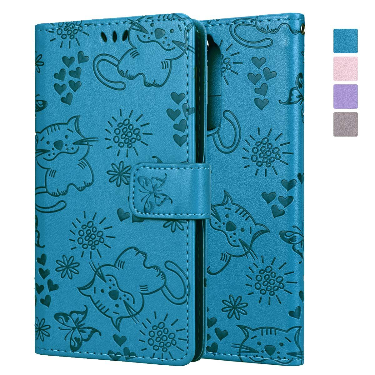 SMART LEGEND Nokia 8 Hülle, Handyhülle Schutzhülle mit kartenfach Lederhülle Ledertasche Prägung Katze PU Leder Flip Case Protective Cover Innere Weiche Silikon Bookcase Handy Tasche Schale mit Magnet Standfunktion Etui - Blau
