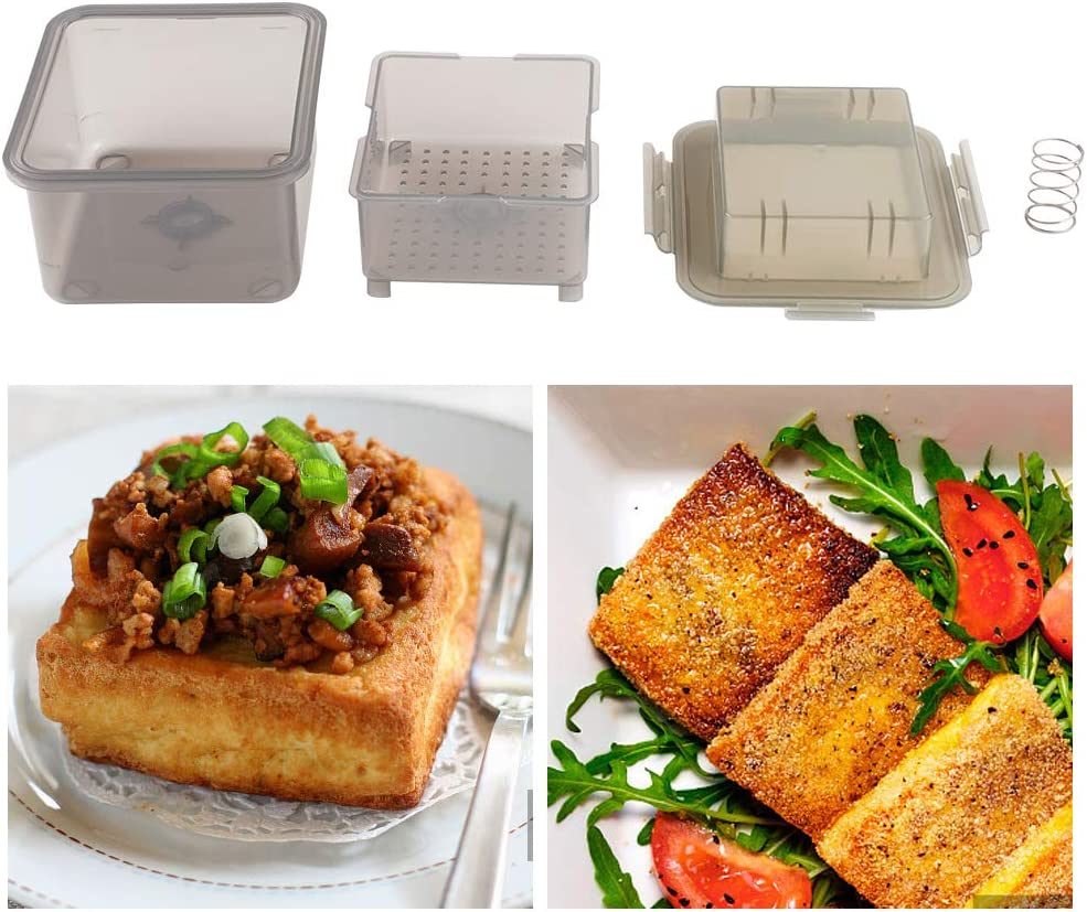 ZXMOTO Tofu Press Box - Removes Water from Tofu for Different Taste, Bulit-in Drainer Clear Tofu Presser