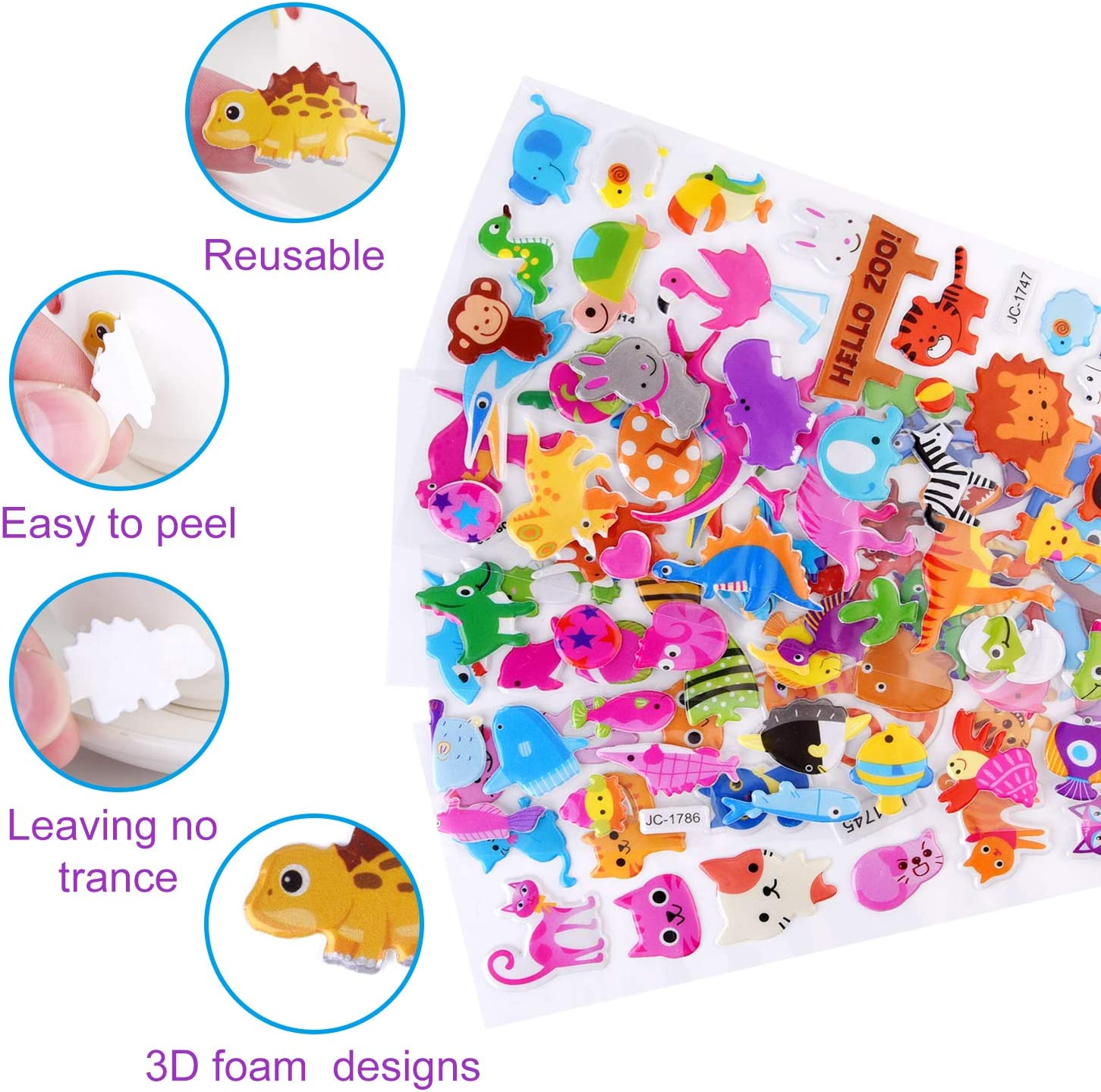 KUUQA 500Pcs 3D Stickers for Toddlers Puffy Stickers Cartoon Animals Craft Stickers for Kids Scrapbooking Bullet Journals 20 Sheets
