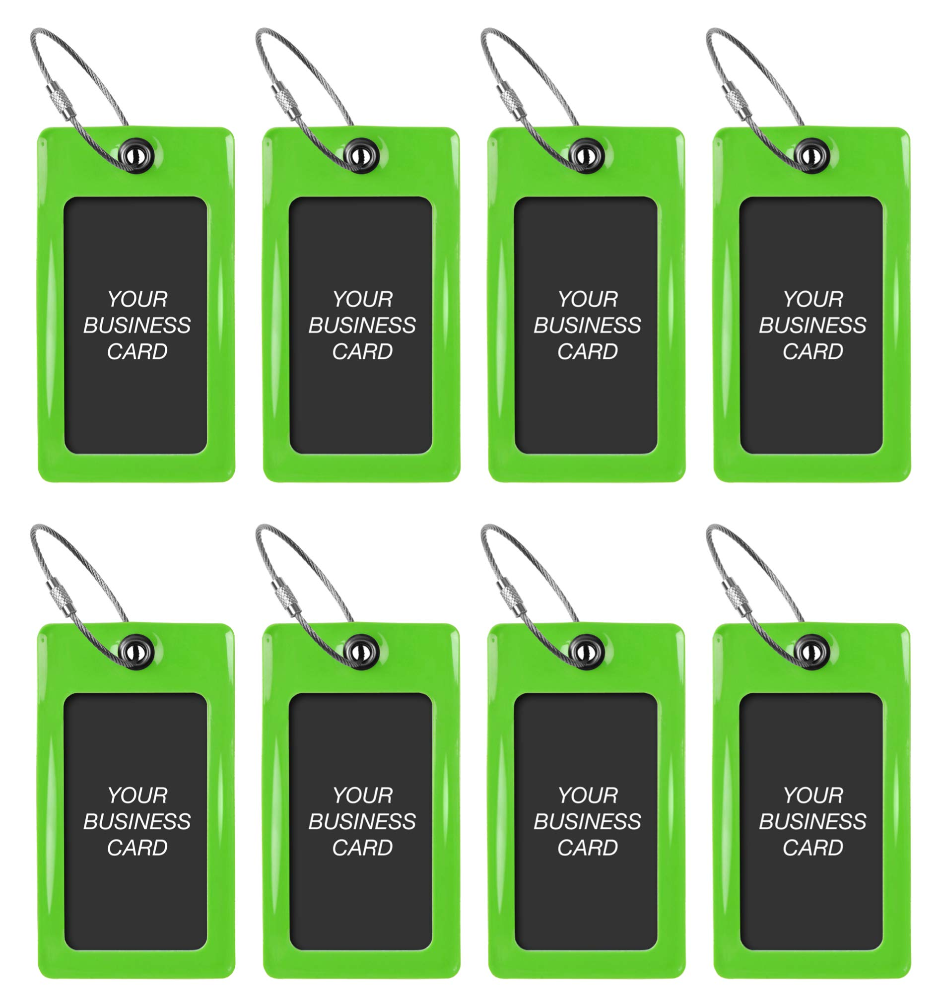 Luggage Tags TUFFTAAG for Business Cards, Flexible Travel Labels, 8 Pack Bundle (8 Green) by ProudGuy