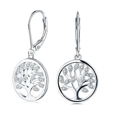 [Sponsored]JO WISDOM Women Earrings,925 Sterling Silver Family Tree of Life Drop & Dangle Earrings