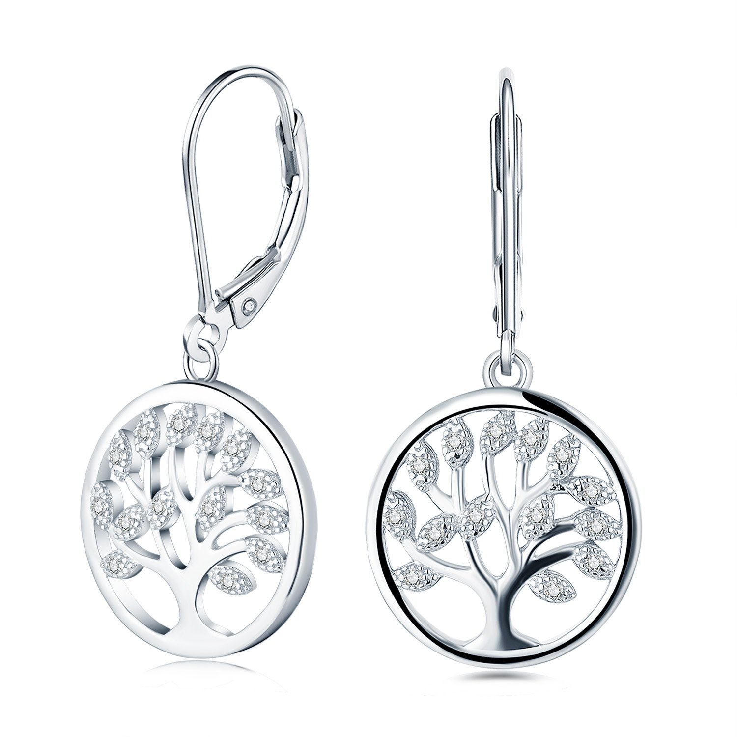 925 Sterling Silver Cubic Zirconia Family Tree of Life Drop & Dangle Leverback Earrings
