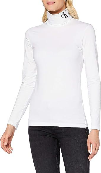 Calvin Klein CK Silicone LS Roll Neck Camisa para Mujer