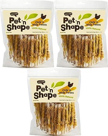 Pet n Shape Chicken Hide Twists Jerky Treats 5in, 3lb 3 x 1lb