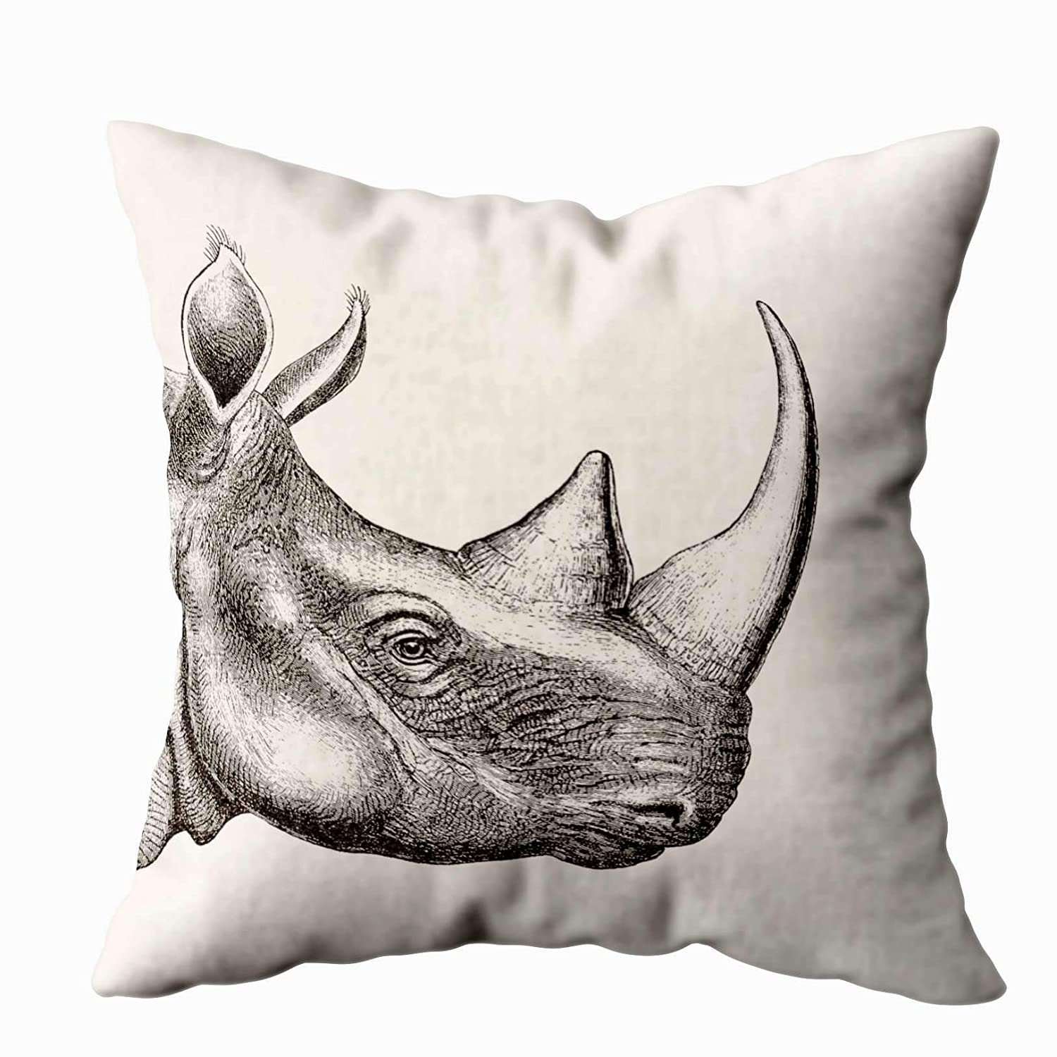 Shorping Zippered Pillow Covers Pillowcases 20X30 Inch Vintage Rhino Illustration Decorative Throw Pillow Cover,Pillow Cases Cushion Cover for Home Sofa Bedding Bed Car Seats Decor