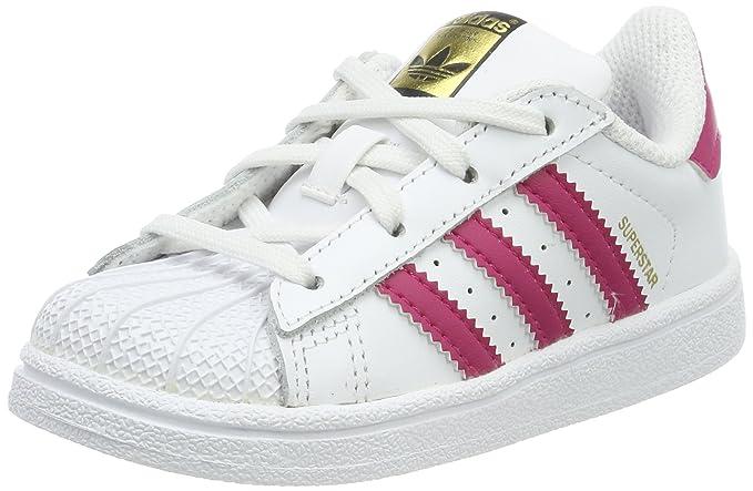 adidas Superstar Sneakers Unisex Baby weiß mit rosa Streifen
