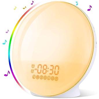 Luces-despertador, Wake Up Light Despertador con Simulación de Amanecer y Atardece, Reloj de Alarma dual, Función Snooze, 20 Brillo, 8 Sonidos, Radio ...
