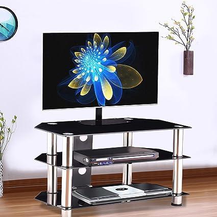 Amazoncom Premium Glass Tv Stand Entertainment Console Rack For 37
