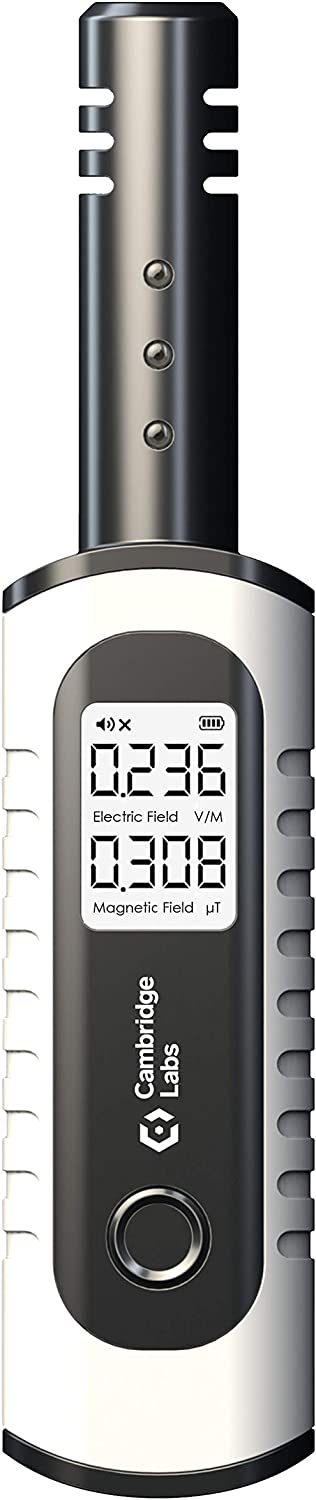 Cambridge Labs Rechargeable EMF Meter, Radiation Detector, Electromagnetic Field Tester, Smart Counter, Great Reader for The Home, Office Or Ghost Hunting, Handheld Digital Sensor, White