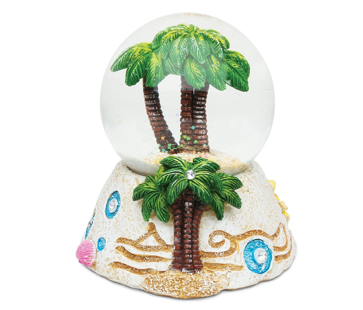 COTA Global Palm Tree Snow Globe Dome Resin Beach Collection Tropical Summer Nautical Theme Hawaiian/Mexican/Bahamas Room Decoration Size: 3.8 x 3.5 x 3.5 inches Unique Gift Toy Display Puzzled Inc.