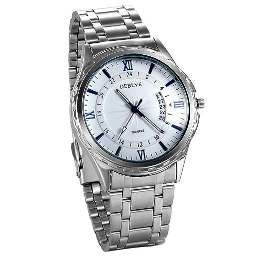 JewelryWe Reloj de Hombre Caballero Plateado Reloj de Acero Inoxidable Calendario Reloj Minimalistas, Elegante Relojes para Hombre, Punteros Noctilucentes ...