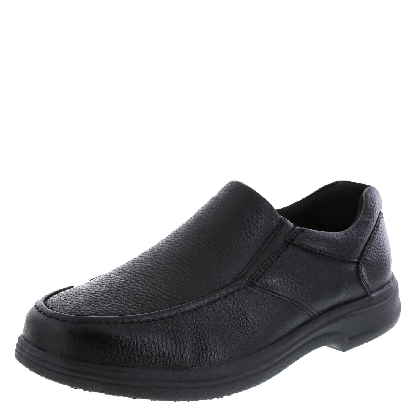 safeTstep Slip Resistant Men's Black Men's Comfort Moc Slip-On 12 Wide by safeTstep