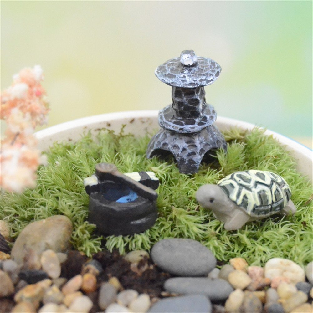 COOLTOP Miniature Tortoise Set Fairy Garden Dollhouse Miniature Plant Pots Bonsai Craft Micro Landscape DIY Decor Set