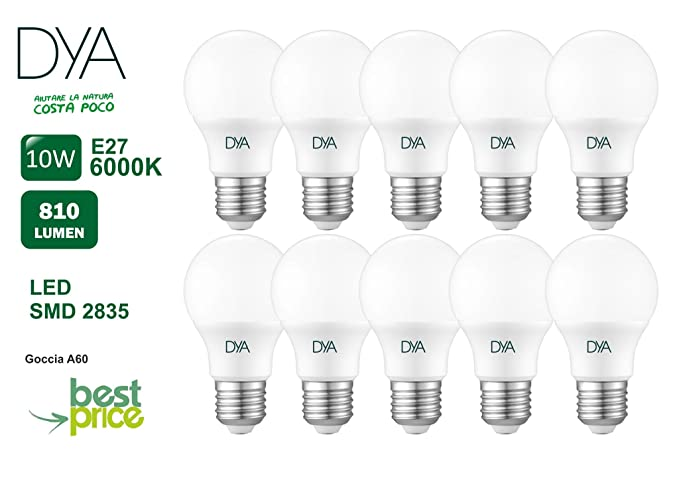 Juego de 10 Bombillas gota A60 LED Pegaso Best Price, 9 W, E27,