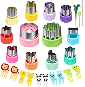 12 pcs Mini Cookie Cutters Vegetable Cutter Shapes Sets Fruit Stamps Mold