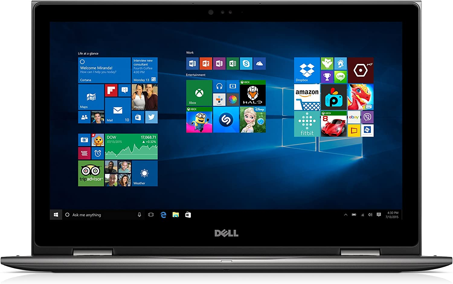 "Dell Inspiron 15 2-in-1 Laptop Intel Core i3 (up to 2.40 GHz), 4GB Ram, 500GB HDD, 15.6"" Screen, Gray (i5578-3093GRY-PUS)"