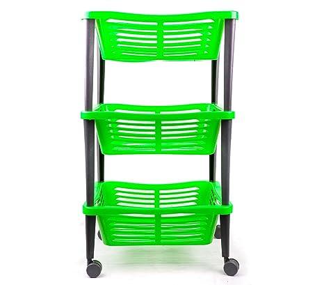 348499 Carrito para la fruta WELKHOME de 3 plantas con ruedas 30x40x69 cm - Verde