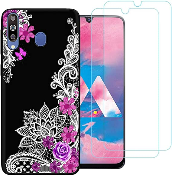 jrester Funda Samsung Galaxy M30,Flor Diagonal Flexible Suave ...