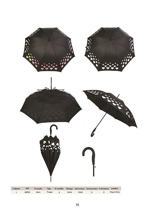 Paraguas grande, negro con corazones que cambian de color al contacto con el agua,