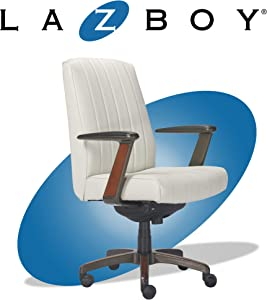 La-Z-Boy Bennett Modern Executive Lumbar Support, Rich Wood Inlay, High-Back Ergonomic Office Chair, Bonded Leather, White