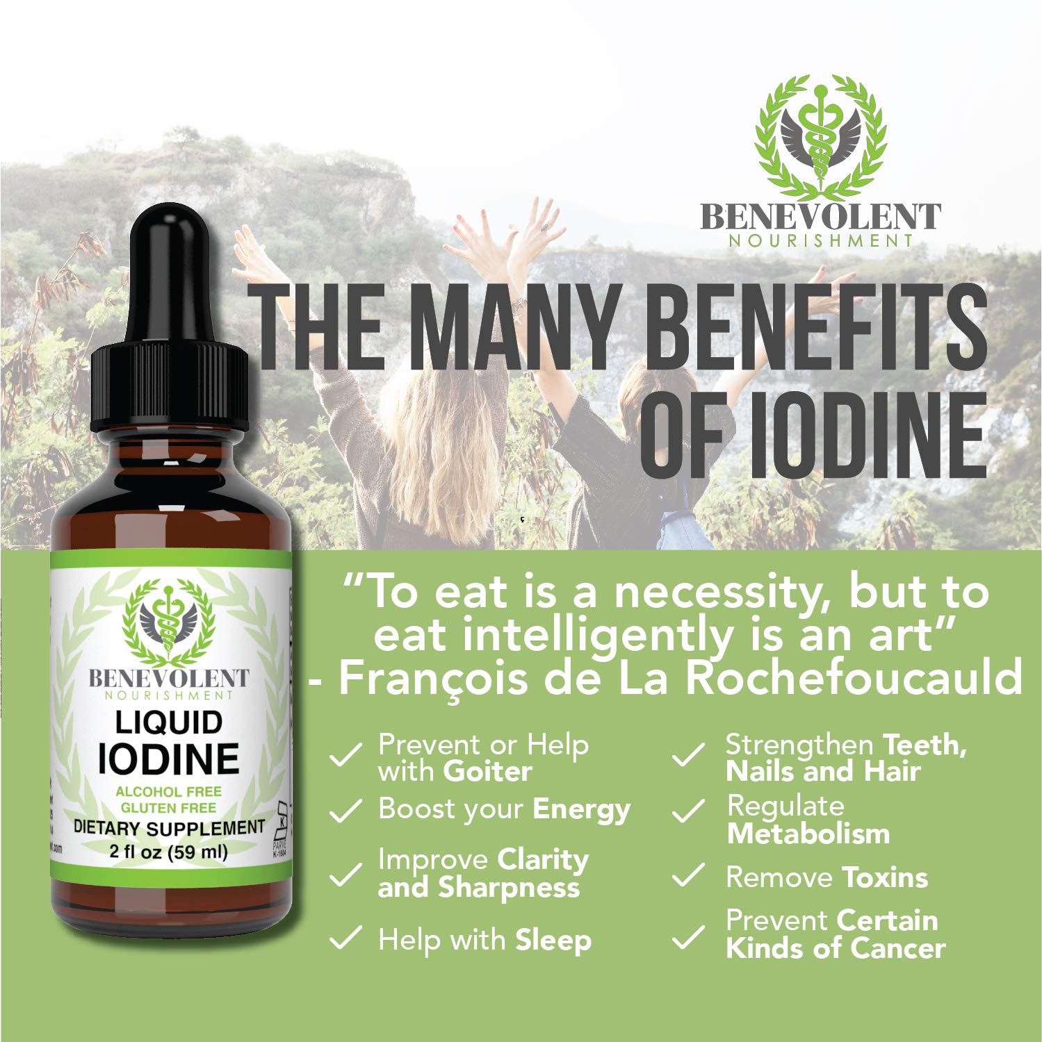 Amazon com: Liquid Iodine Potassium Drops - 1300 Servings | Large