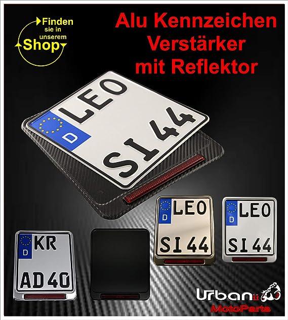 CARBON Optik Schwarz ALU 220 x 200 mm Urbanii Motorrad Kennzeichenverst/ärker mit REFLEKTOR E-gepr/üft