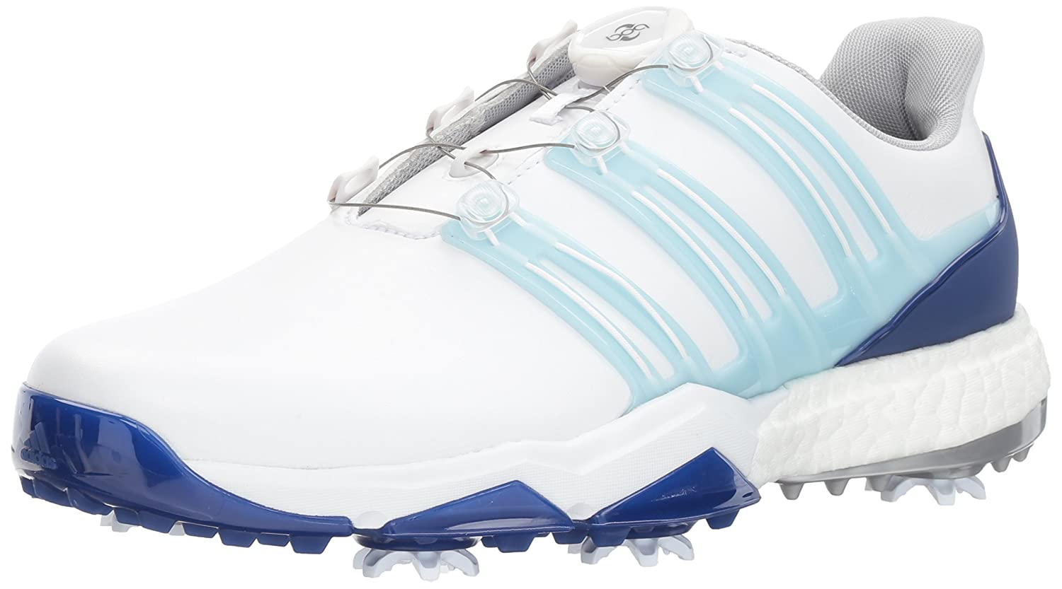 adidas Powerband BOA Boost Golf Shoes B01N7K36VX 9.5 D(M) US|White/Ice Blue/Mystery Ink