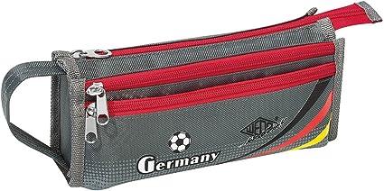 Wedo 242201812 estuche de fútbol Diseño, 3 compartimentos con cremallera, 1 compartimento Velcro, 3 compartimentos Corre 21, 5 x 6, 5 x 10 cm, poliéster, gris/rojo: Amazon.es: Oficina y papelería
