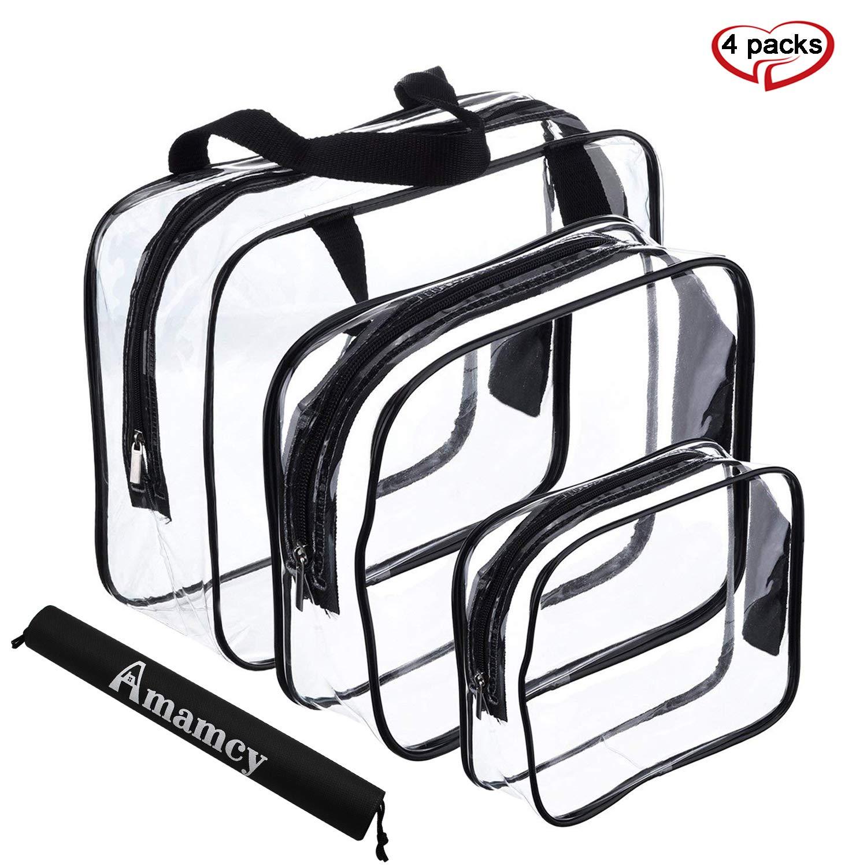 Amamcy 3 Pcs Waterproof TSA Clear Cosmetics Bag,Transparent Travel Toiletry Bag Storage Organizer Case for Men &Women (Large/Medium/Small)