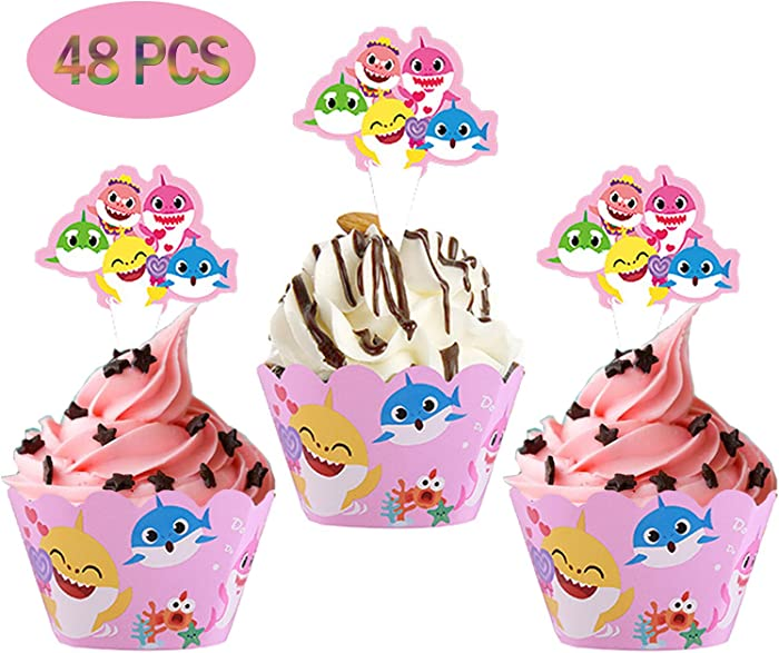 48 PCS Shark Cupcake Toppers Wrappers Shark Theme Party Supplies- 24 pcs Baby Shark Cupcake Toppers and 24 pcs Cupcake Wrappers Theme Shark Family Baby Shower Birthday Party Decorations