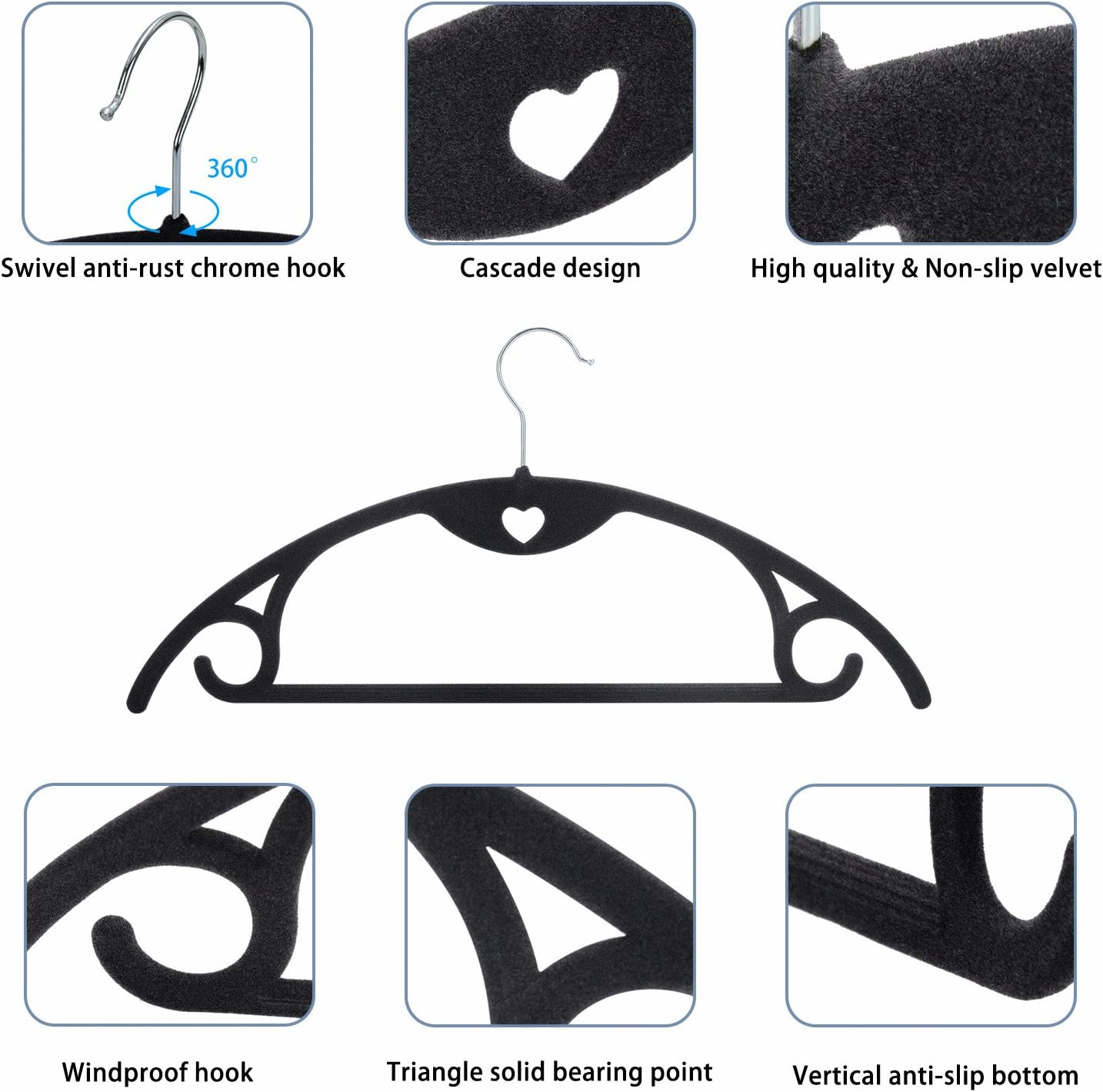 Non-Slip Suit Clothes Hangers Coat Hangers 30-Pack Ultra Thin Space Saving with Heavy Duty 360 Swivel Chrome Hook IEOKE Premium Velvet Hangers