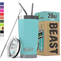 BEAST 20oz Tumbler Insulated Stainless Steel Coffee Cup with Lid, 2 Straws, Brush & Gift Box by Greens Steel (20 oz, Aquamarine Blue)