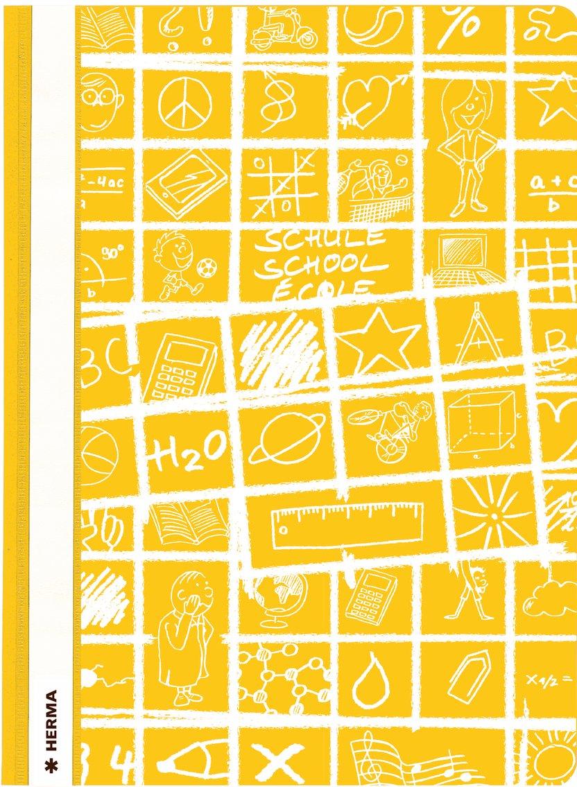 Herma 19363 Schnellhefter gelb DIN A4 SCHOOLYDOO gemustert Plastik Kunststoff 1 Mappe