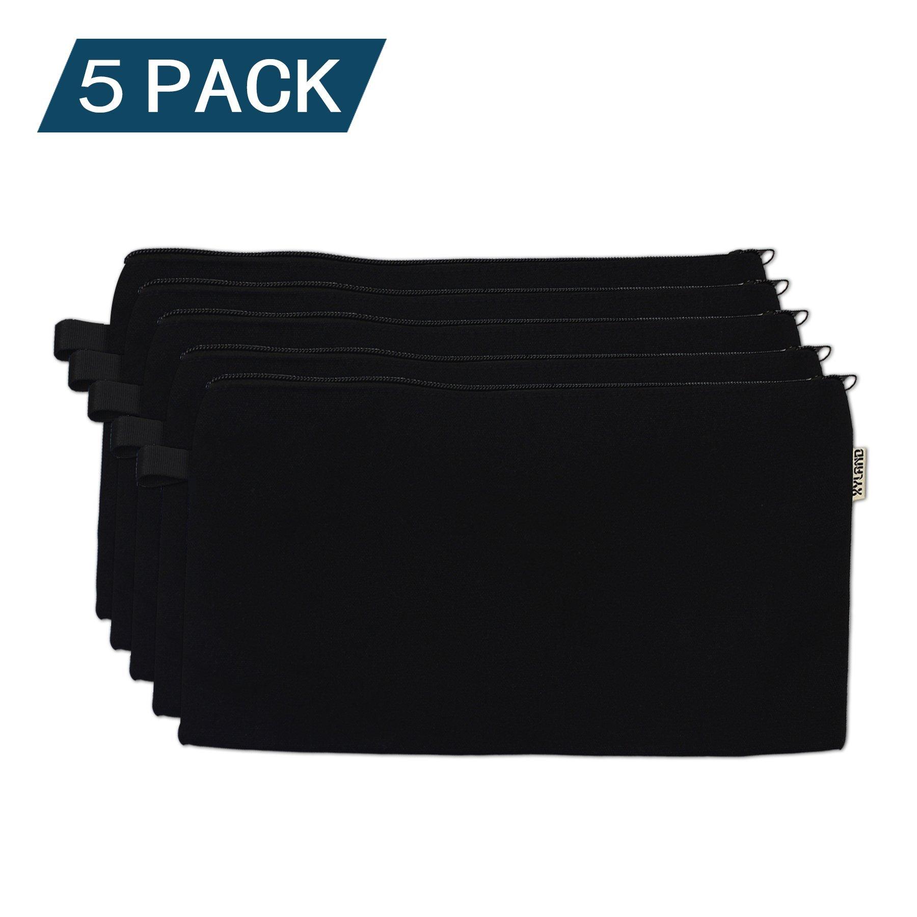 XYLand 100% Cotton Canvas Zipper Makeup Pouch, Coin Purse, Cellphone Purse, Pen/Pencil Case(5Pack Big Black)