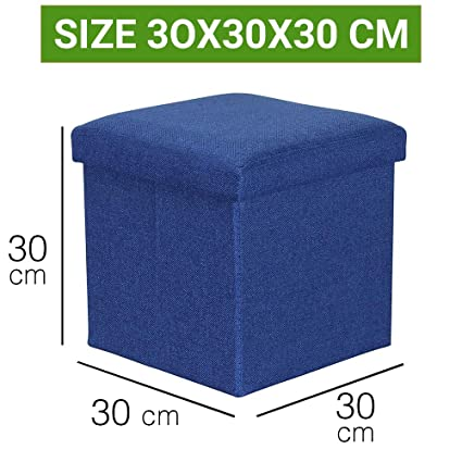 official photos 8daba ebbc5 Sterling Foldable Ottoman Storage Box Cum Stool - Linen Fabric Foldable  Basket Cubes Organizer Boxes Containers Drawers with Lid (Multi-Color 30 X  30 ...