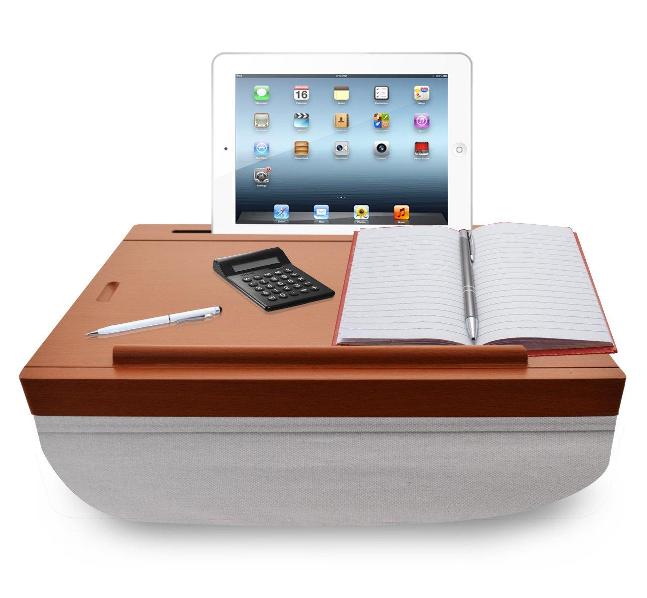 iCozy Portable Cushion Lap Desk With Storage - Wood-Look w / Light Grey
