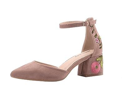 639a563bd3 Mila Lady (Phoenix D'Orsay A Slim Ankle Strap Floral Embroidered Chunky  Elegance Platform