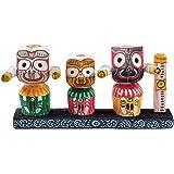 DollsofIndia Jagannath, Balaram & Subhadra - Wooden Statue - 3 x 5.5 x 1 inches