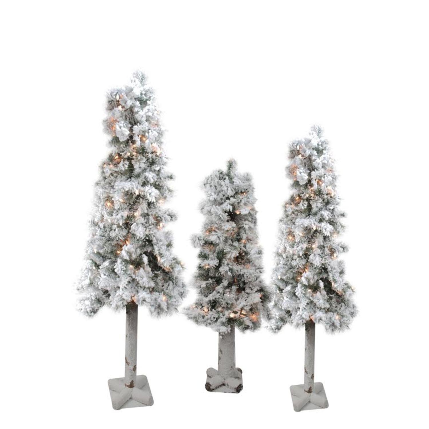 Set of 3 Pre-Lit Flocked Woodland Alpine Artificial Christmas Trees 3', 4' and 5' - Clear Lights