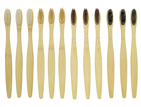Cepillo de dientes de bambú, 12 unidades, cerdas blancas, beiges, marrones,