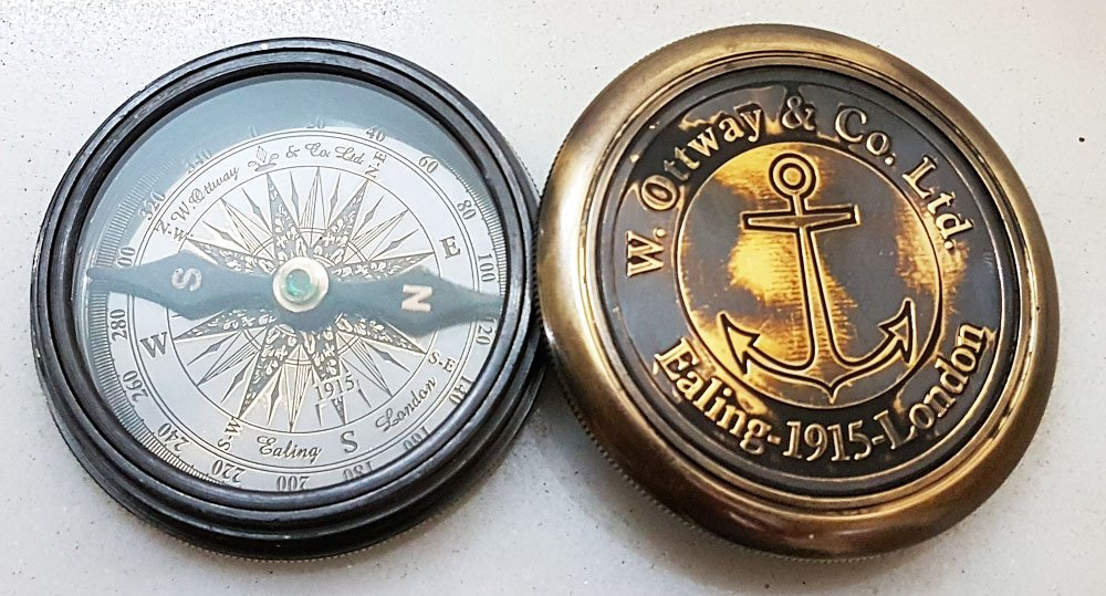 Nautisches Taschenkompass 6,3 cm Messing antik Finish Kompass