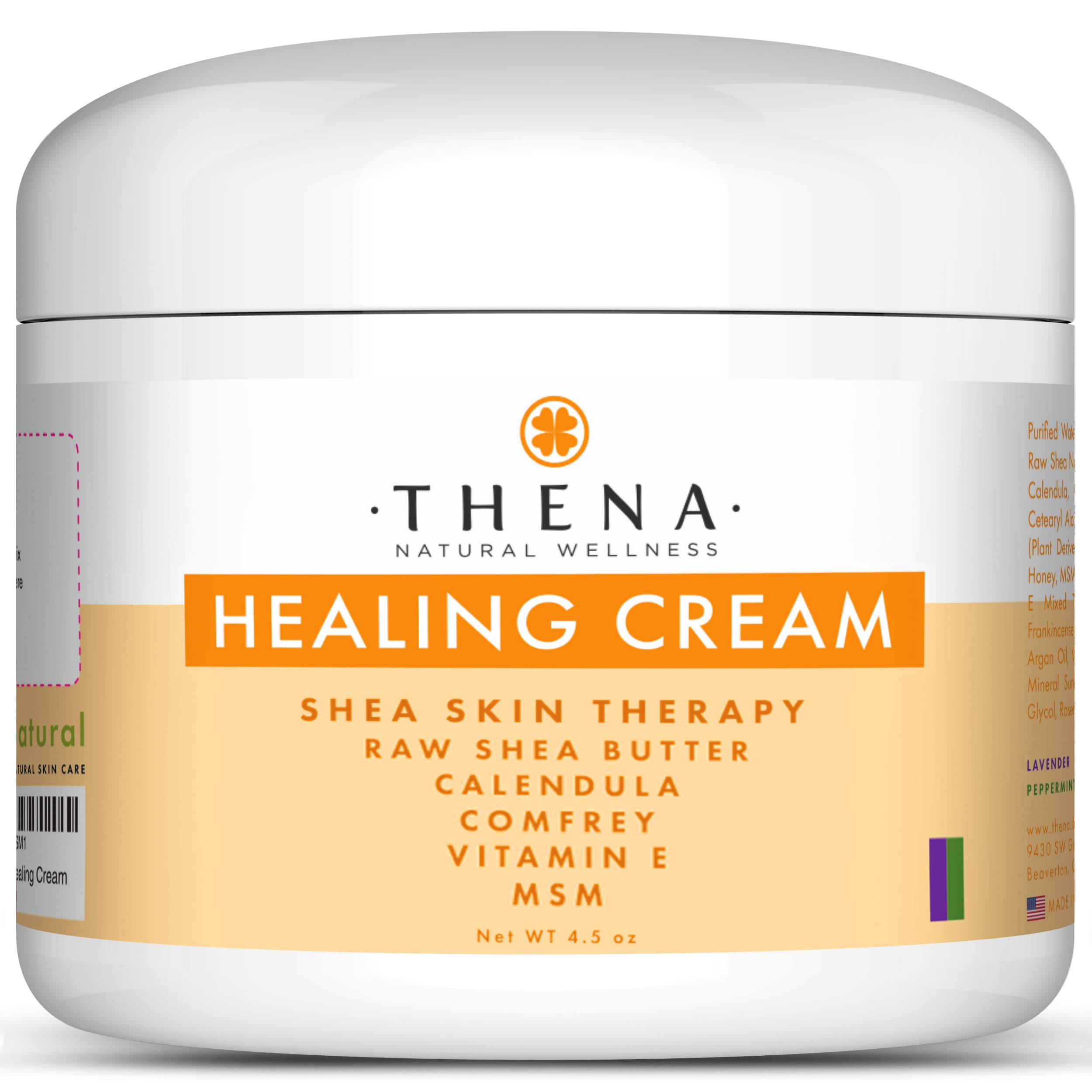 Healing Cream for Eczema Psoriasis, Organic Natural Moisturizer Lotion for Face Body Scalp Dry Itchy Irritated Cracked Skin, Anti Itch Relief Therapy Dermatitis Rashes Rosacea Shingles by THENA Natural Wellness
