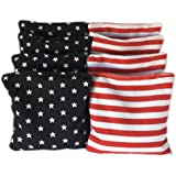 American Stars and Stripes Cornhole Bags (Set of 8) - Official Size & Weight - USA Red White and Blue - Bonus Tote Bag Included