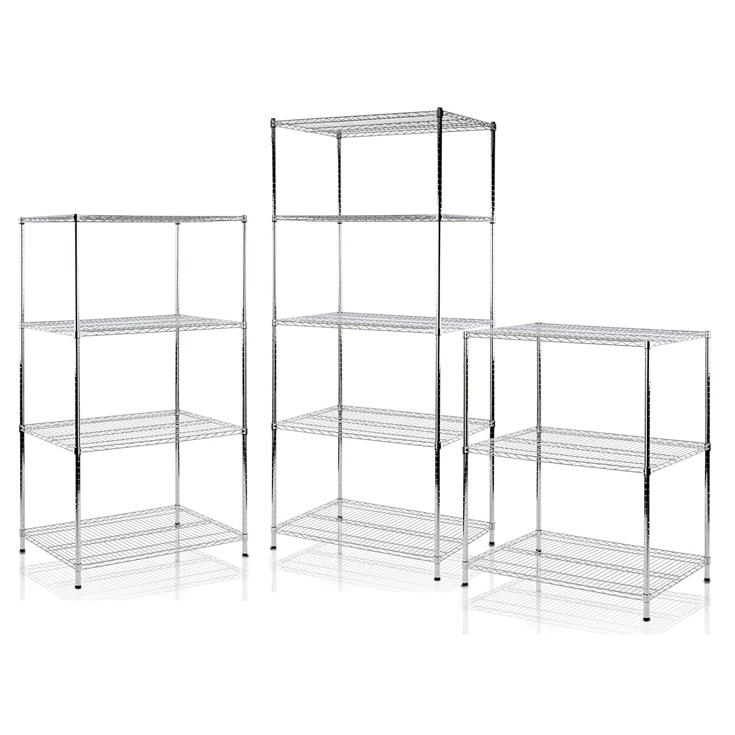 casa pura Steel Chrome Shelving, Everest - 4 Tier, 90x35x160cm | 7 Sizes
