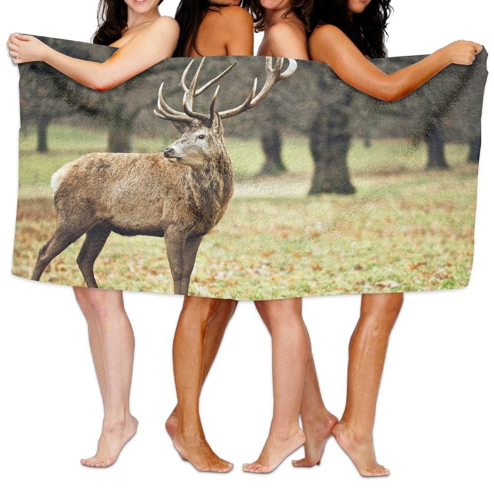 PengMin Deer Woods Scenery Premium 100% Polyester Large Bath Towel, Pool And Bath Towel (80'' X 130'') Natural, Soft, Quick Drying